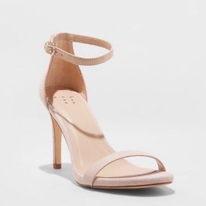 Taupe Microsuede Stiletto Heeled Pump Sandals, NWT